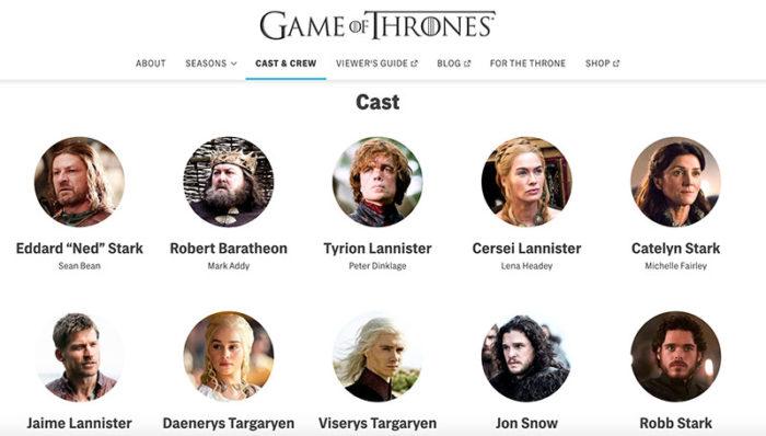 HBO ゲームオブスローンズ登場人物ページのスクショ