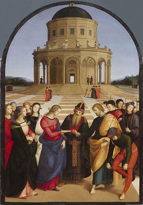 古典主義の代表とされるラファエロ・サンティの「聖母の婚礼」(1504年) ブレラ美術館所蔵。