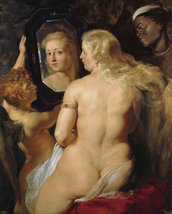バロック様式の画家ルーベンスの『鏡を見るヴィーナス』(1614年 - 1615年頃) プライベート・コレクション