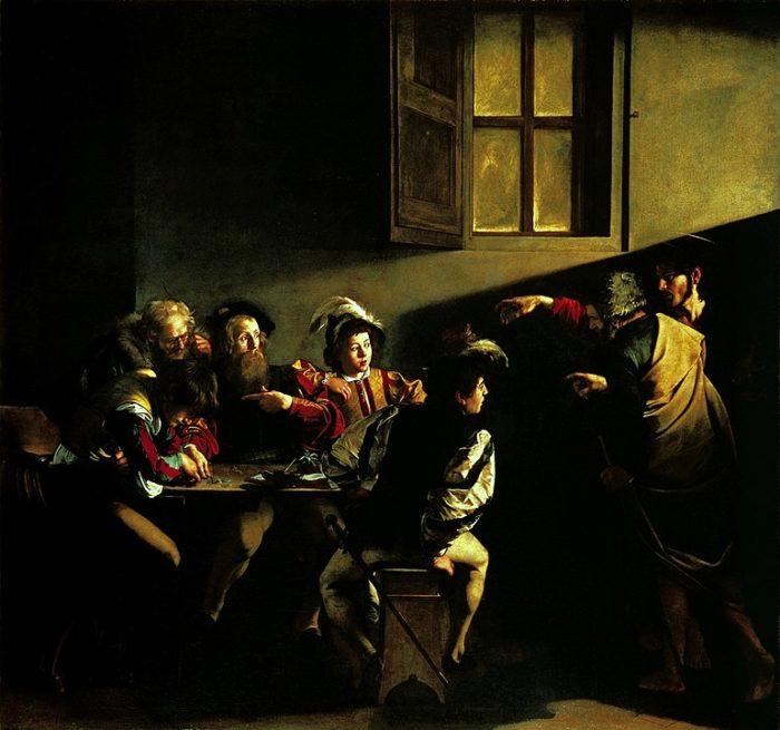 明暗の画家カラヴァッジョはバロックの画家。上は「聖マタイの召命」(1599年 - 1600年) サン・ルイジ・デイ・フランチェージ教会コンタレッリ礼拝堂(ローマ)