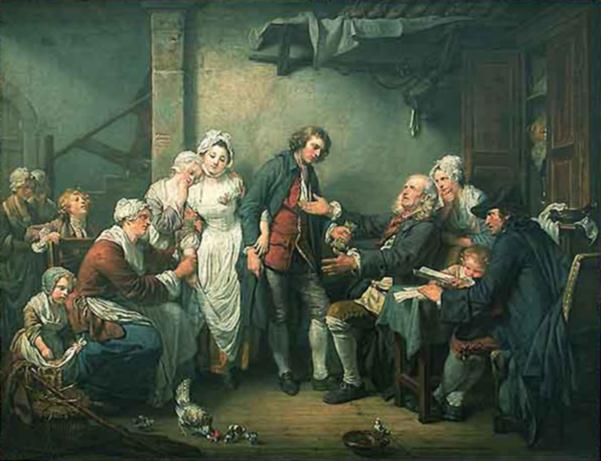 ロココ時代において庶民の暮らしを描いたジャン=バティスト・グルーズ 「村の花嫁」(1761)ルーヴル美術館蔵