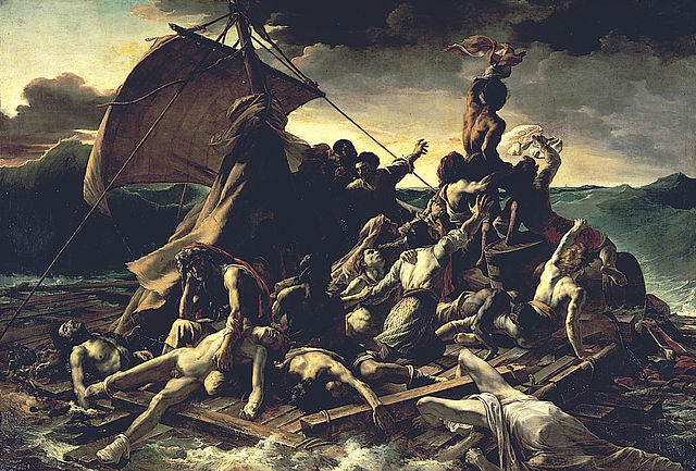 フランス革命期の画家テオドール・ジェリコーの「メデューズ号の筏」ルーブル美術館、パリ