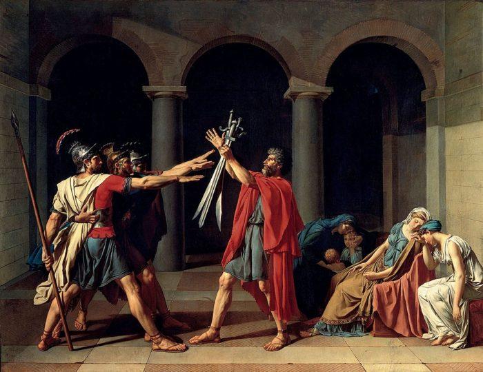 新古典主義の画家ジャック=ルイ・ダヴィッドの「ホラティウス兄弟の誓い」1784年 275x203cm ルーヴル美術館