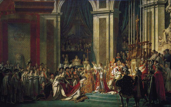 ジャック=ルイ・ダヴィッド「ナポレオン一世の戴冠式と皇妃ジョゼフィーヌの戴冠」Joséphine kneels before Napoléon during his coronation at Notre Dame. Behind him sits pope Pius VII.