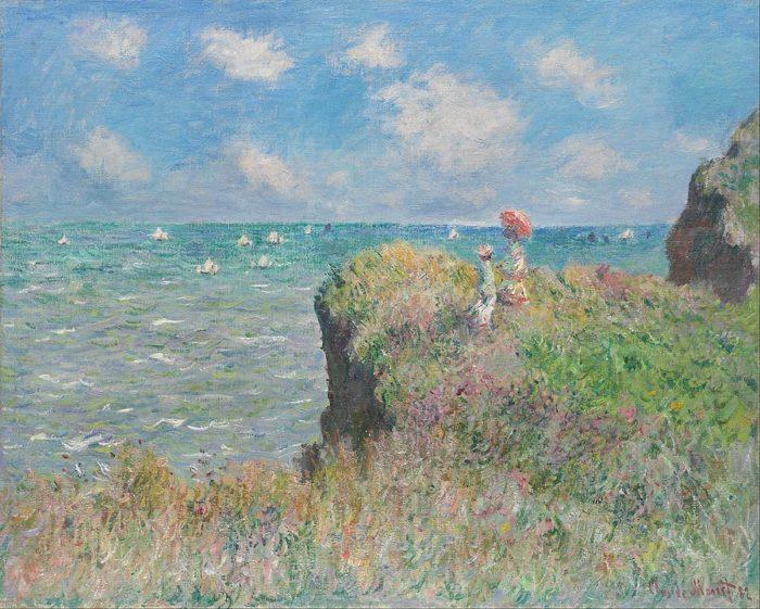 クロード・モネ 『プールヴィルの断崖の上の散歩(英語版)』1882年。油彩、キャンバス、66.5 × 82.3 cm。シカゴ美術館