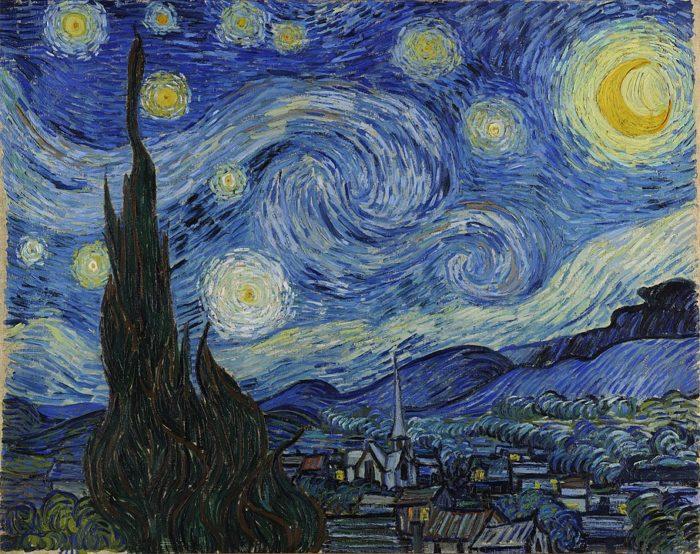 フィンセント・ファン・ゴッホ『星月夜』1889年6月、サン=レミ。油彩、キャンバス、73.7 × 92.1cm。ニューヨーク近代美術館