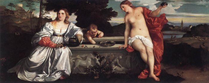 ティチアーノ「聖愛と俗愛」 1515年 ボルゲーゼ美術館。服を着ている方が俗愛で、裸の方が聖愛