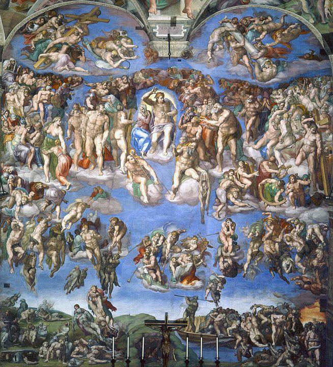 ミケランジェロの「最後の審判」(バチカン、システィーナ礼拝堂)は罪人も普通の人も全員を裸で描いたため、教皇から服を着せるように意見されたが聞かなかった。ミケランジェロの弟子が服を書き足したという…。