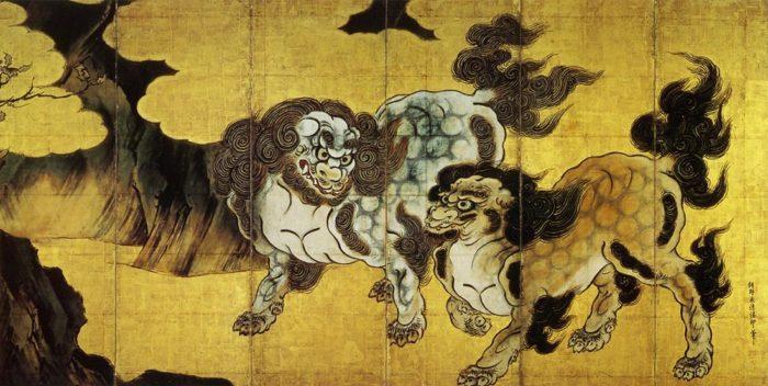 狩野永徳「唐獅子図」