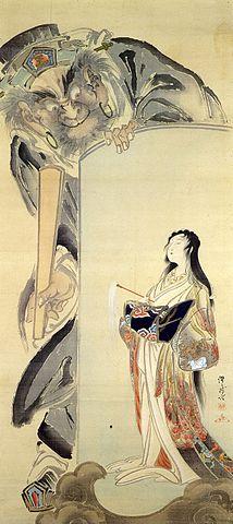 河鍋暁斎「閻魔と地獄太夫図」