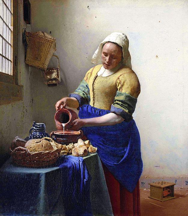 ヨハネス・フェルメール「牛乳を注ぐ女」1658年-60年頃。 アムステルダム国立美術館。