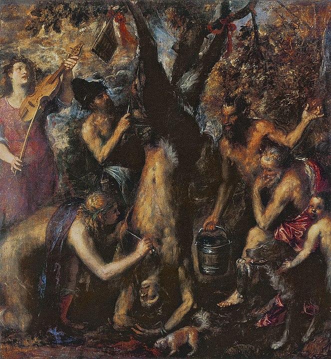 「皮をはがれるマルシュアス」(1570年 - 1576年頃) クロムニェジーシュ美術館(チェコ)